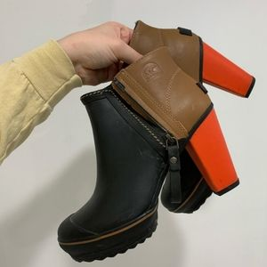 Sorel Black Brown Orange Medina Rain Ankle Boots